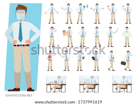 Set of businessman wearing medical mask and face shield character vector design. People working in office planning, thinking and economic analysis.