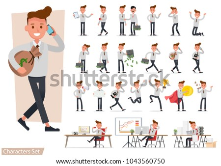 set of Businessman working and showing different gestures character vector design.