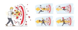 Set of Businessmen Breaking Huge Target. Working Success, Victory. Business Men Character Hit Barrier for Career Boost, Goal Achievement, Challenge and Working Mission. Linear Vector Illustration
