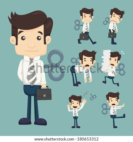 set of businessmen with wind up