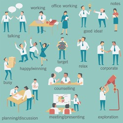 Set of businesspeople or office workers, man and woman, in various characters and activities, simple design and easy to use.