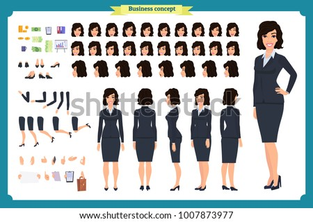 set of businesswoman character
