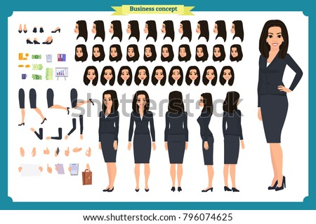 Set of Businesswoman character design.Front, side, back view animated character.Business girl character creation set with various views, poses and gestures.Cartoon style, flat vector isolated.Business