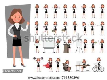 Set of Businesswoman character vector design.