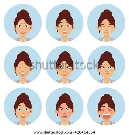 set of businesswoman emoticons