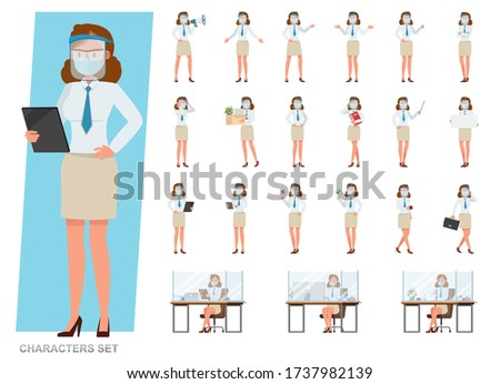 Set of businesswoman wearing medical mask and face shield character vector design. People working in office planning, thinking and economic analysis.
