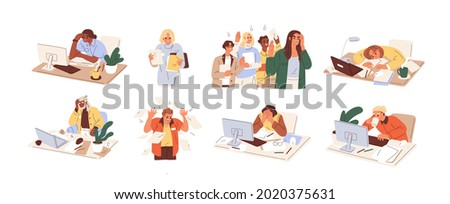 Set of busy people in stress and fatigue at work. Employees overloaded with business tasks. Office workers in anger and anxiety. Burnout concept. Flat graphic vector illustration isolated on white