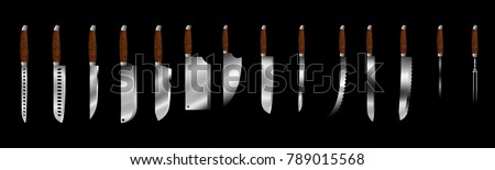 Set of butcher meat knives for butcher shop, Vintage typographic hand-drawn. Meat cutting knives, Cutlery icon set - vector realistic kitchen knives isolated, Vector illustration