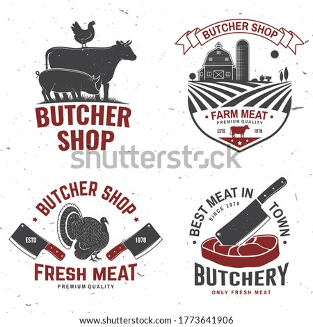 Set of butcher shop badge or label with turkey, cow, Beef, chicken. Vector illustration. Vintage typography logo design with cow, chicken silhouette. Butchery meat shop, market, restaurant business. Foto stock ©