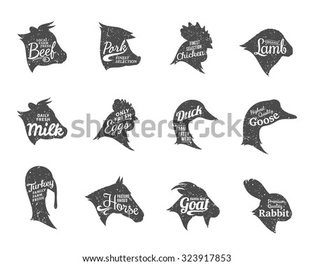 Set of butchery labels templates. Farm animals icons with sample text. Retro styled farm animals icons collection for groceries, meat stores, packaging and advertising. Vector labels design.