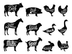 Set of butchery logo. Farm animals silhouettes collection for groceries, meat stores, packaging and advertising. Beef, pork, chicken, milk labels.