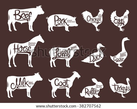 Set of butchery logos. Farm animals silhouettes collection