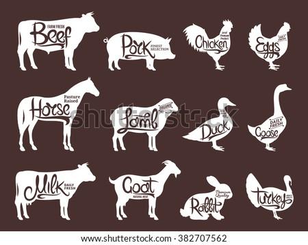 Set of butchery logos. Farm animals silhouettes collection