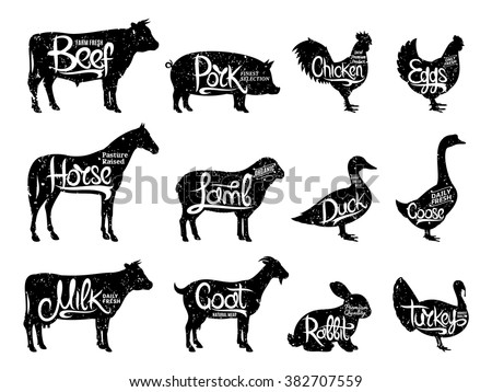 Set of butchery logos. Farm animals with sample text. Retro styled farm animals silhouettes collection for groceries, meat stores, packaging and advertising. Vector logotype design.