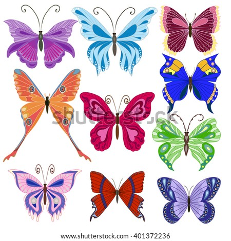 Set of butterflies. Vector illustration. EPS 10