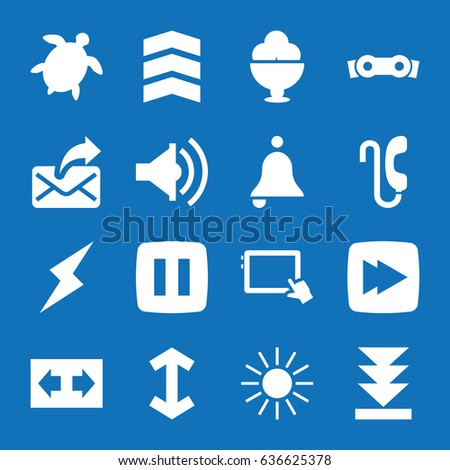 set of 16 button filled icons