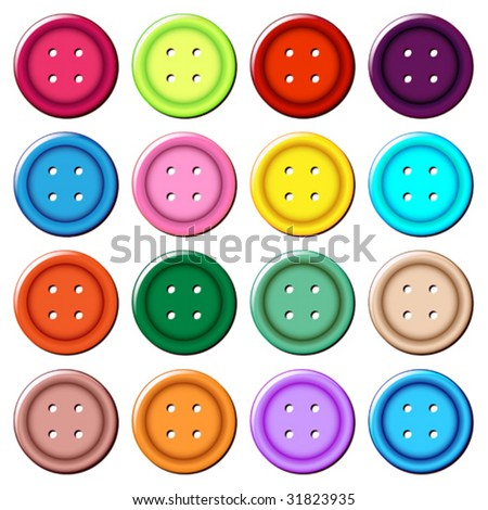 set of 16 buttons - stock vector
