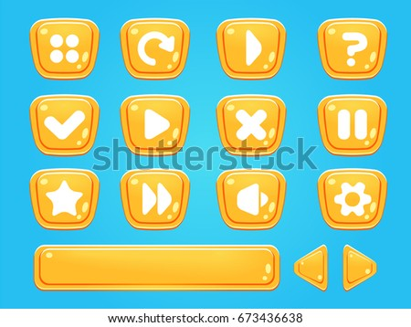 Set of buttons and progress-bar, bright different forms buttons for games and app.