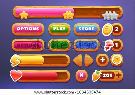 Set of buttons and progress-bar, bright different forms buttons for games and app. Wooden game buttons