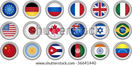 Set of 18 buttons for several countries