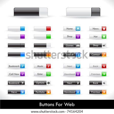 Set of buttons for web. Vector.