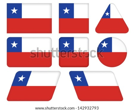 set of buttons with flag of Chile #142932793