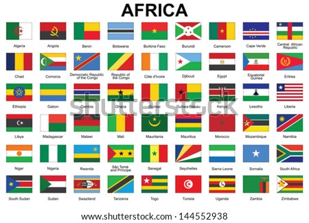 set of buttons with flags of Africa