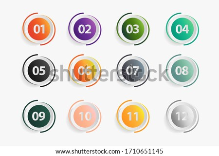 set of buttons with numbers, Number Flat Design, Number Set vector illustration.