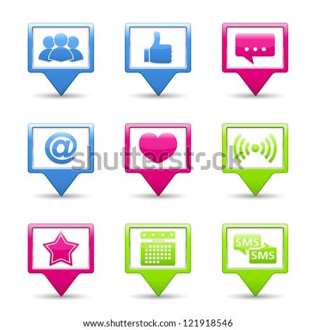 Set of buttons with social media icons, vector eps10 illustration