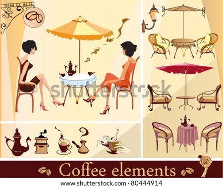 Set of cafe elements
