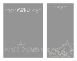 Set of cafe of cafe menu designs with place for your text. Dessert menu templates. Decorated with hand drawn cups, pots, glasses, cakes, pastry, flower vases on dark gray background