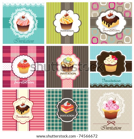 Set of cake cards template - stock vector