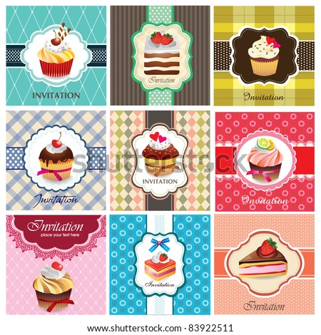 Set of cake cards template