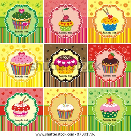 Set of cake cards template. Vector illustration