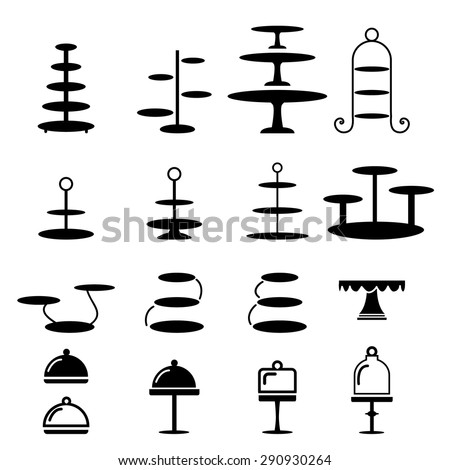 Set of cake stand in silhouette flat icon style Foto stock ©