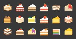 Set of cake, tiramisu, cheese cake, red velvet, orange, carrot, chocolate, mocha, crepe and rainbow cake, layer cake, flat icon