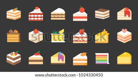 Set of cake, tiramisu, cheese cake, red velvet, orange, carrot, chocolate, mocha, crepe and rainbow cake, layer cake, flat icon