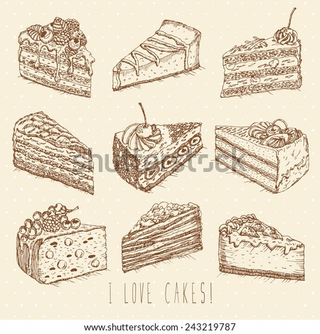 set of cakes in doodle vintage