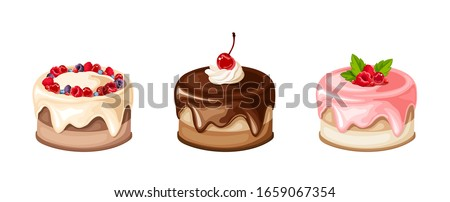 set of cakes isolated on a