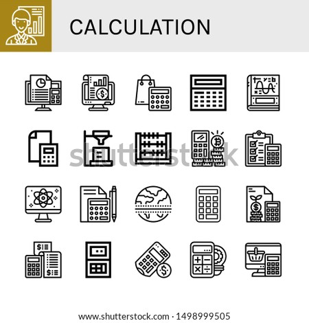 Set of calculation icons such as Analyst, Accounting, Calculator, Calculus, Abacus, Quantum, Equator , calculation