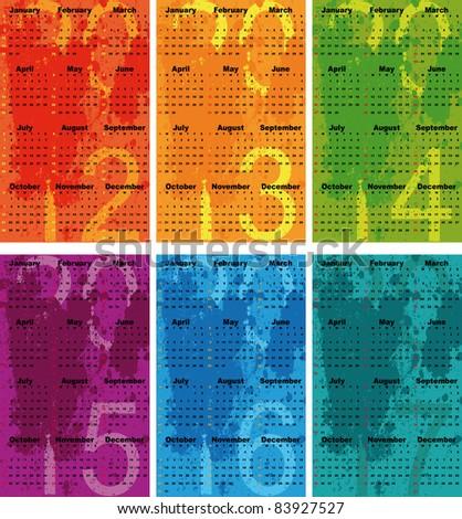 Set of 2012 - 2017 Calendar