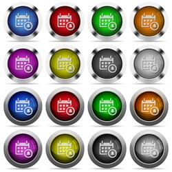 Set of calendar alarm glossy web buttons. Arranged layer structure.