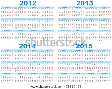 Set of 2012 - 2015 calendar, vector