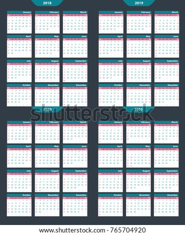 Set of calendar vector template 2018-2020 on a gray background