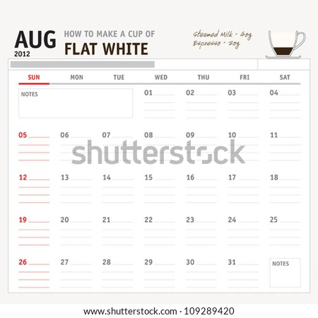 Set of calendar with espresso and coffee design for year 2012