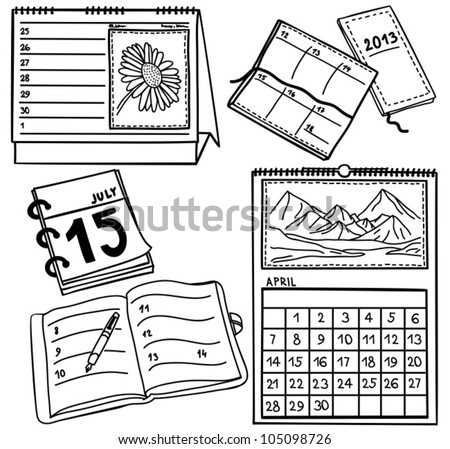 Set of calendars isolated on white background - hand-drawn illustration