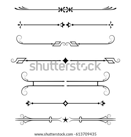 set of calligraphic design elements and page decor, dividers isolated on white background,vector illustration