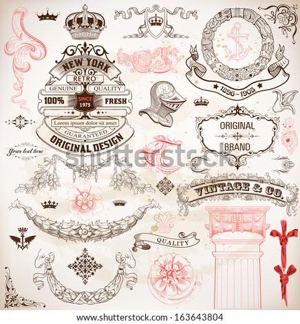 set of calligraphic design...