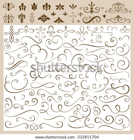 Set of calligraphic design elements vector illustration. Saved in EPS 8 file. Create your own design as you wish.