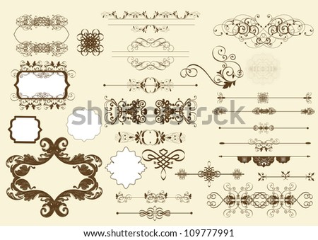 Set of calligraphic elements. Calligraphic vector